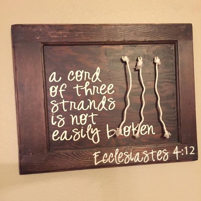 Item - Wood A Cord Of 3 Strand Bible Verse Ceremony Decoration