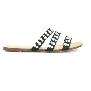 Chase & Chloe Pearl Embellished Summer Open Toe black Sandals