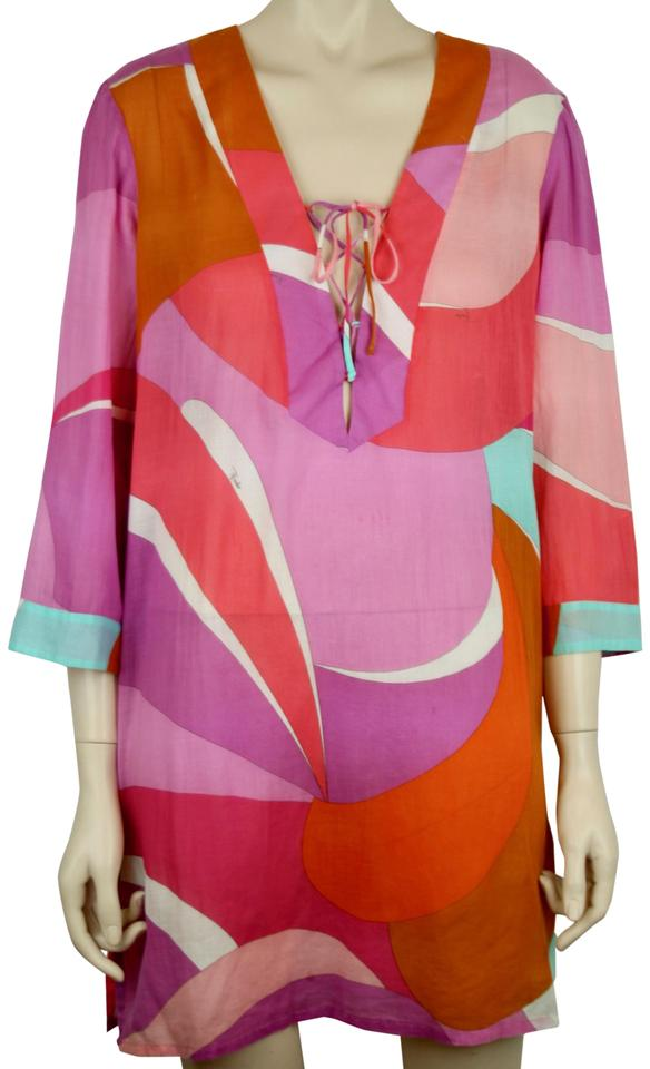 16dd2f7f5d5 Emilio Pucci EMILIO PUCCI LONG SLEEVE DRESS SWIMSUIT COVER-UP PINK ORANGE  WHITE Image 0 ...