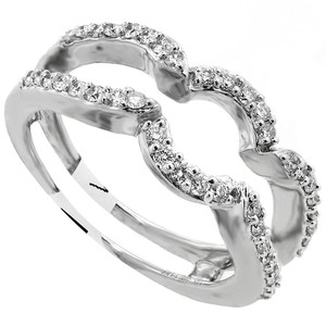 Diamond Insert Wedding Enhancer Ring 14k White Gold .38tcw G Color Si2 Clarity
