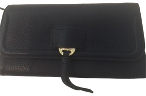 Annabel Ingall Leather Gold Hardware New navy Clutch