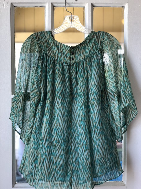 Banana Republic Flowy Green Blue Studded Top Teal Image 3
