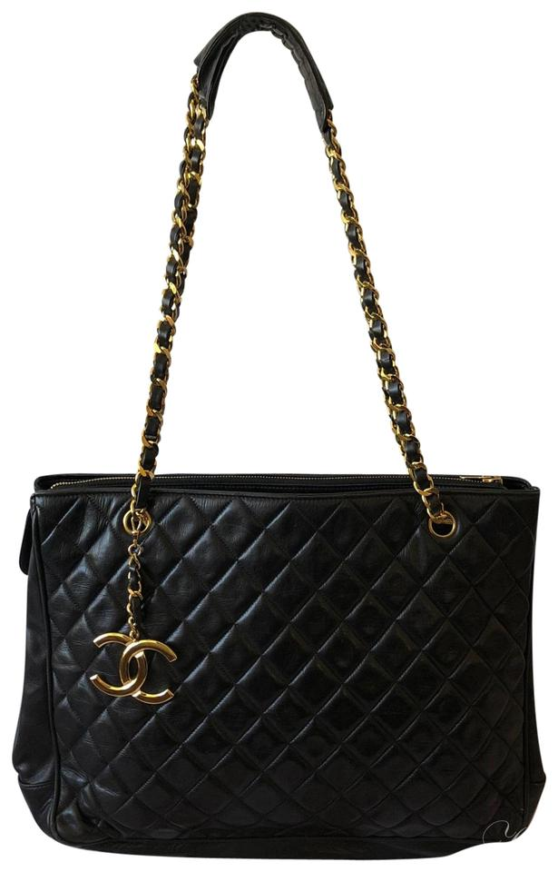 b4cfe6861caeb7 Chanel Vintage Quilted Chain Matelasse Black and Gold Leather ...