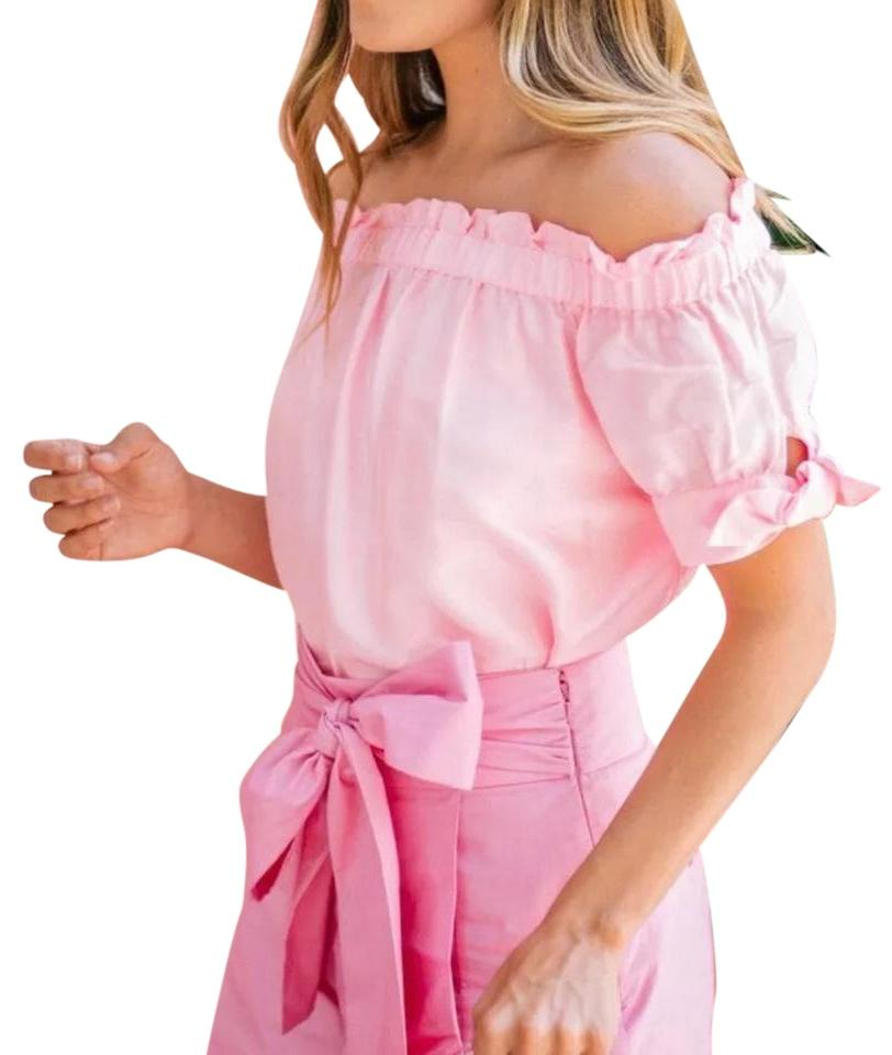 84a4468251c J.Crew Pink Silk Off-the-shoulder Blouse Size 4 (S) - Tradesy