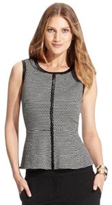 Vince Camuto Peplum Faux Leather Sleeveless Zipper Geometric Print Top Black / White