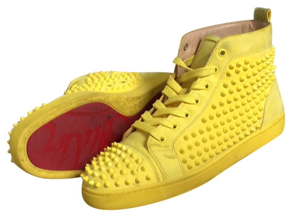 bb564d6e6b17 Christian Louboutin Yellow Louis Flat Suede Spikes Sneakers Size US ...