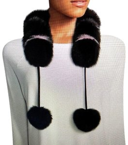 Charlotte Simone Charlotte Simone NWT Black & Pale Pink Fox Fur Collar with Pom-Poms
