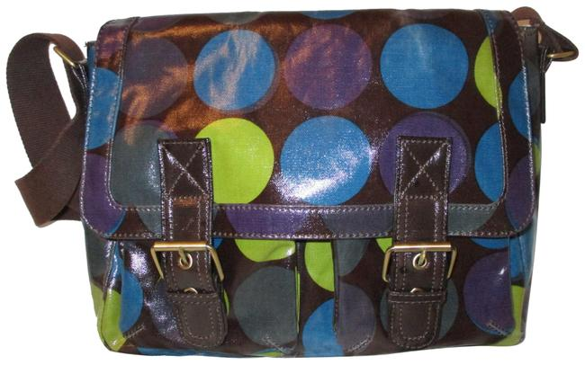 Item - Crossbody Brown Multi Coated Canvas Messenger Bag