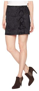 Kensie Faux Leather A-line Mini Skirt Black