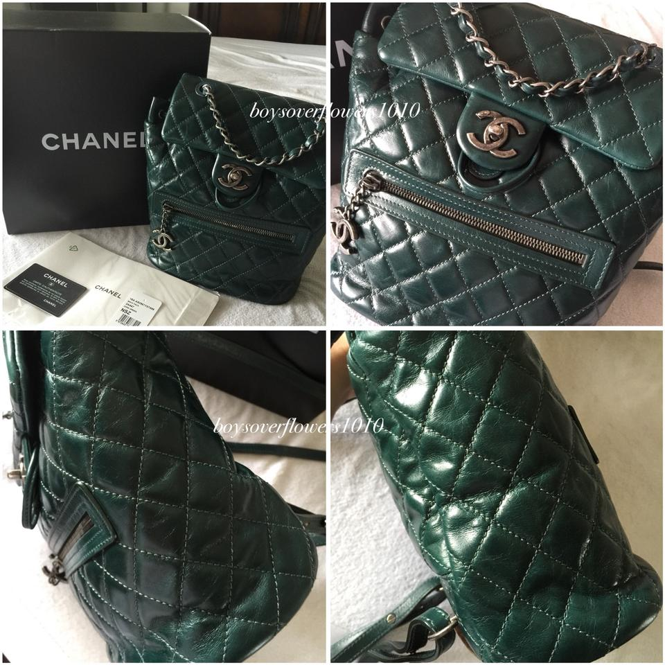 23c227d0cc7f Chanel 15a Small Ruthenium Hw Dark Green Glazed Calfskin Leather ...