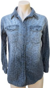 BDG Urban Outfitters Shirt Blouse Size Xs Leopard Print Chambray Cotton Button Down Shirt Gray