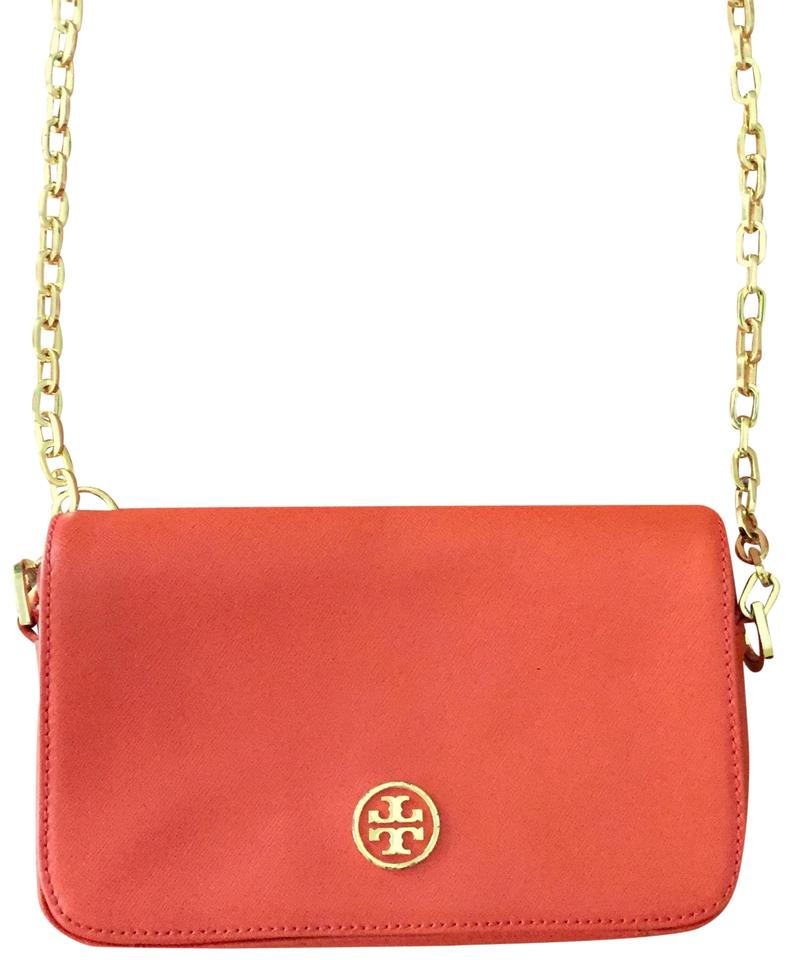 5964fd70023 Tory Burch Robinson Mini Chain Orange Saffiano Leather Cross Body ...