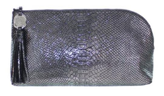 Vince Camuto Snakeskin Purse Leather Silver Clutch Image 2