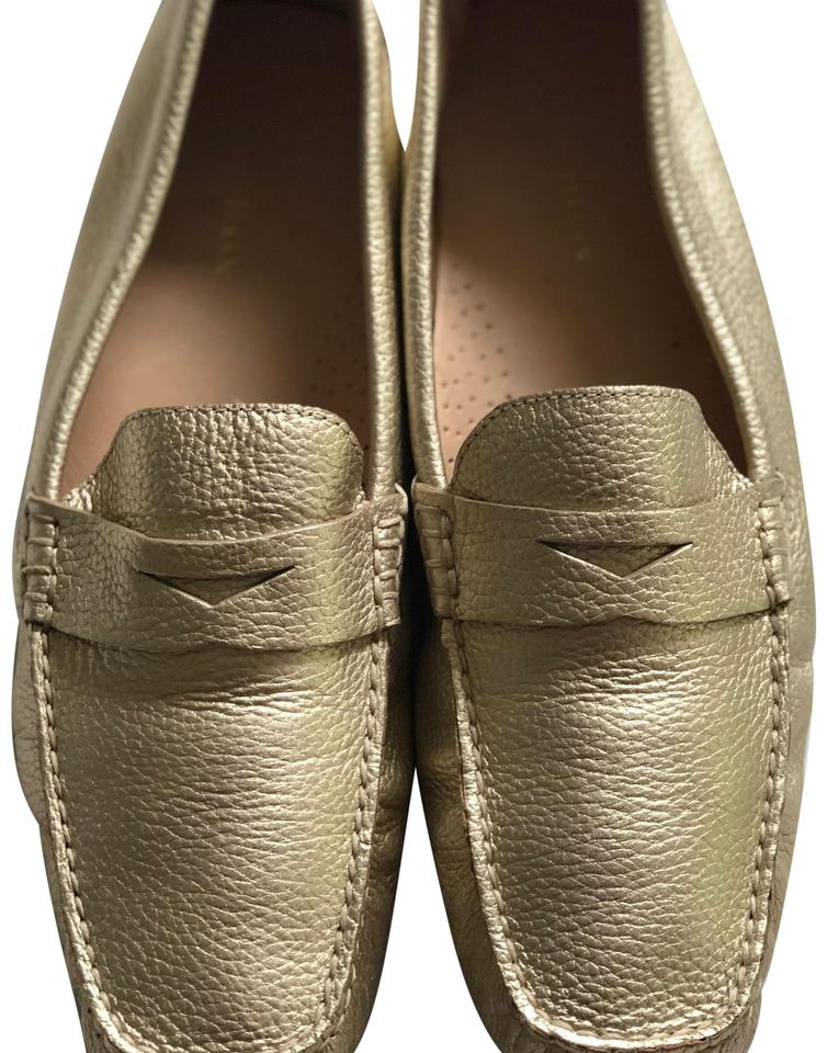 7560382ef28 Cole Haan Champagne Gold Metallic D41452 Trillby Driver Leather Loafer Flats