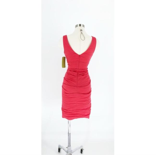 Nicole Miller Coral Ruched Cotton Metal Dress Image 1