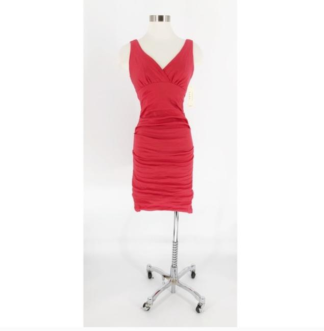 Nicole Miller Coral Ruched Cotton Metal Dress Image 2