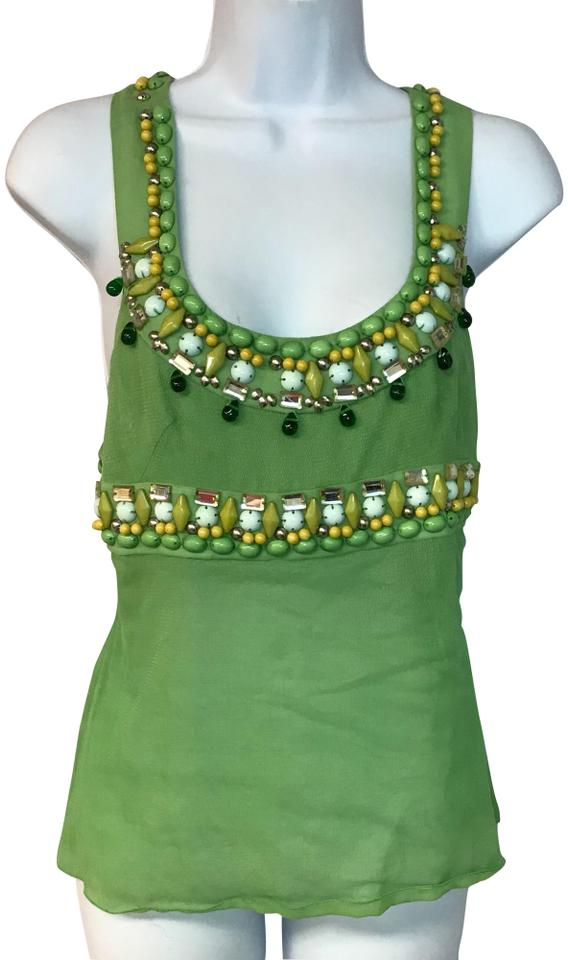 481a3ef44e521 Chloé Green Made In France Embellished Mesh T 36 Blouse Size 2 (XS ...