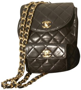 ... Ultra Rare Cc Duma Quilted Double Turnlock Black Lambskin Leather  Backpack.  2 a8d0bc49d35cc