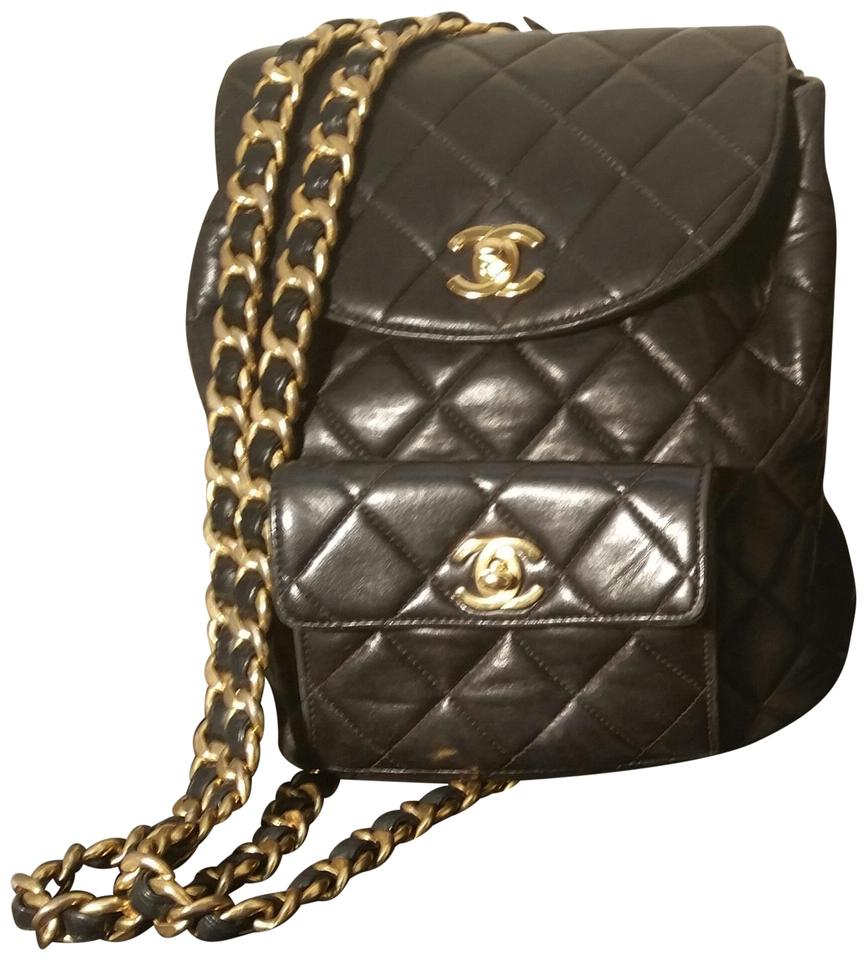 70dcbfce10e0 Chanel Backpack Vintage Quilted - Style #38572 Black Lambskin Leather  Backpack