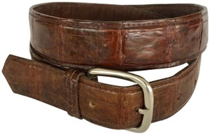 UNBRANDED BROWN CROCODILE EMBOSSED LEATHER MEN'S BELT SILVER BUCKLE, SIZE LARGE