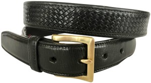 Cole Haan COLE HAHN BLACK WOVEN BRAIDED LEATHER MEN'S BELT, BRASS BUCKLE, SIZE L