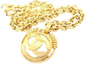 Chanel Chanel vintage CC logo large size pendant long chain necklace
