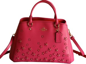 Coach Leather Floral Applique Pink Carryall Satchel in Imitation Gold/Dahlia