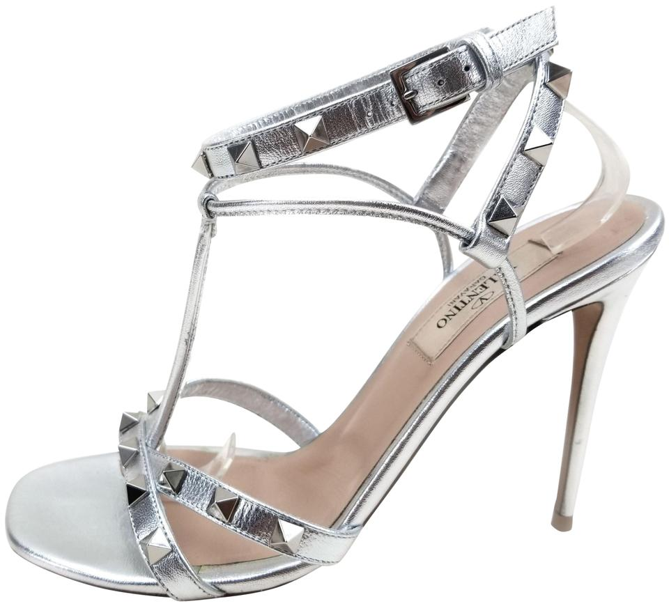 06c62083b0 Valentino Strap Pyramid Studs T-strap Silver Metallic Leather Sandals Image  0 ...