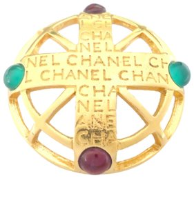 Chanel Chanel vintage cc logo red green stone pin brooches