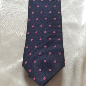 Tommy Hilfiger Silk Jacquard Navy with Pink Dots Tie/Bowtie