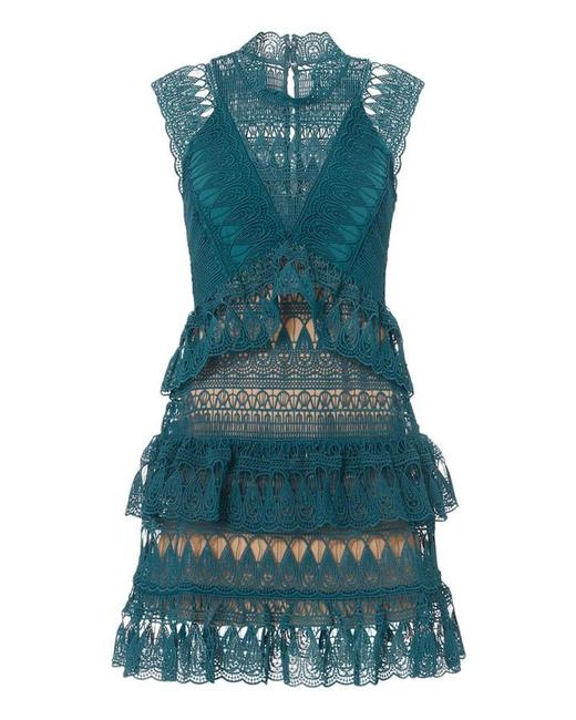 self-portrait Teal New Guipure Lace Ruffle Summer Flirty Romantic Short Cocktail Dress Size 8 (M) self-portrait Teal New Guipure Lace Ruffle Summer Flirty Romantic Short Cocktail Dress Size 8 (M) Image 1