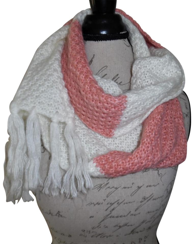 dcac2ab6685 Joe Boxer Off-white Rose Pink Striped Knit Fringe Ends Scarf/Wrap