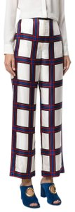 Tory Burch New With Tags Plaid Silk Summer Trouser Pants Multicolor