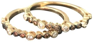 LeVian Chocolate & Vanilla Diamond 14k Gold Pave Graduated In & Out Bands -SET OF TWO