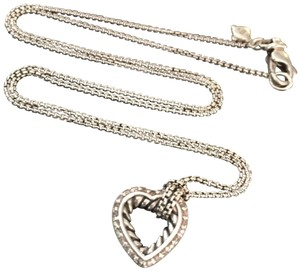 "David Yurman Diamond Open Heart Cable Classics Necklace 18"" Sterling Silver 925 DY Medium"