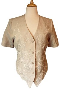 Together Embroidered Button Down Shirt linen beige white