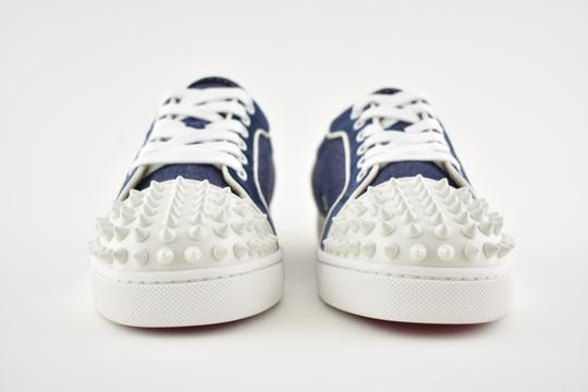 the latest 04691 14110 Christian Louboutin Blue Vieira Spikes Flat White Lace Up Tie Low Top Spike  Trainer Sneakers Size EU 36 (Approx. US 6) Regular (M, B)