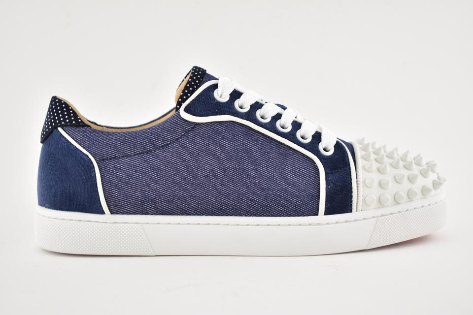 f7ce94bf32d Christian Louboutin Blue Vieira Spikes Flat White Lace Up Tie Low Top Spike  Trainer Sneakers Size EU 37.5 (Approx. US 7.5) Regular (M, B)