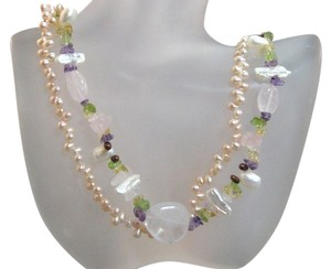 2 Strand Pink Freshwater Pearl Rose Quartz Necklace