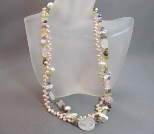 Other 2 Strand Pink Freshwater Pearl Rose Quartz Necklace Image 1