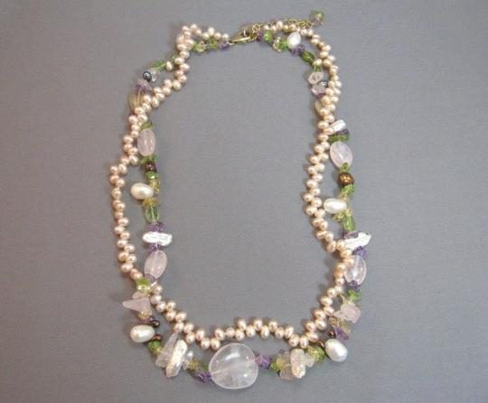 Other 2 Strand Pink Freshwater Pearl Rose Quartz Necklace Image 2
