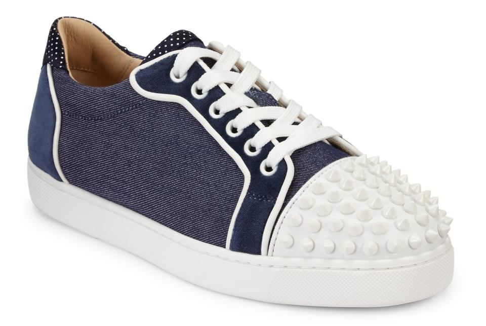 e878e4599c6 Christian Louboutin Blue Vieira Spikes Flat White Lace Up Tie Low Top Spike  Trainer Sneaker Sneakers