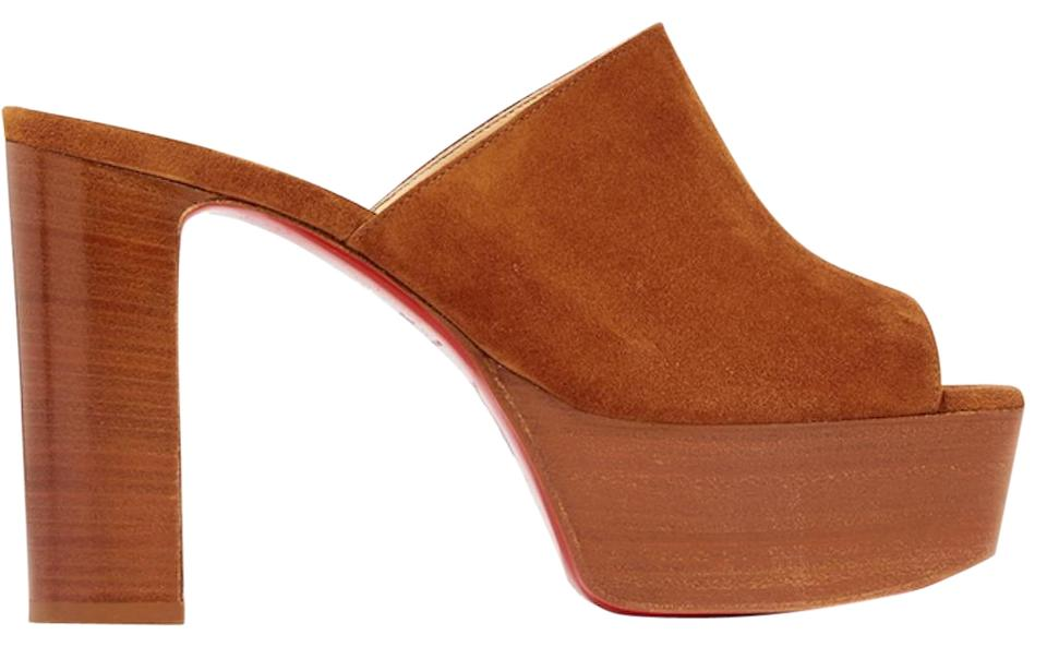 Christian Louboutin Brown Uk 110 Cannelle Backless Cuoio Platform Block Heel Pump Mules Slides Size Eu 37 Approx Us 7 Regular M B