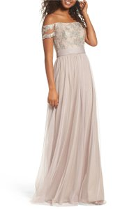 Amsale Latte Sequin Lace Tulle Ireland Embellished Off Shoulder Gown (Tiny Snags On Bottom See Pics) Formal Bridesmaid/Mob Dress Size 8 (M)
