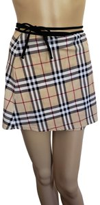 Burberry Belted Gold Hardware Nova Check Plaid Swimsuit Mini Skirt Beige, Black