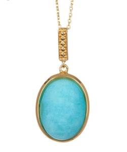 Savvy Cie Savvy Cie Jewels 18k Gold Vermeil Cabochon Amazonite Pendant Necklace.