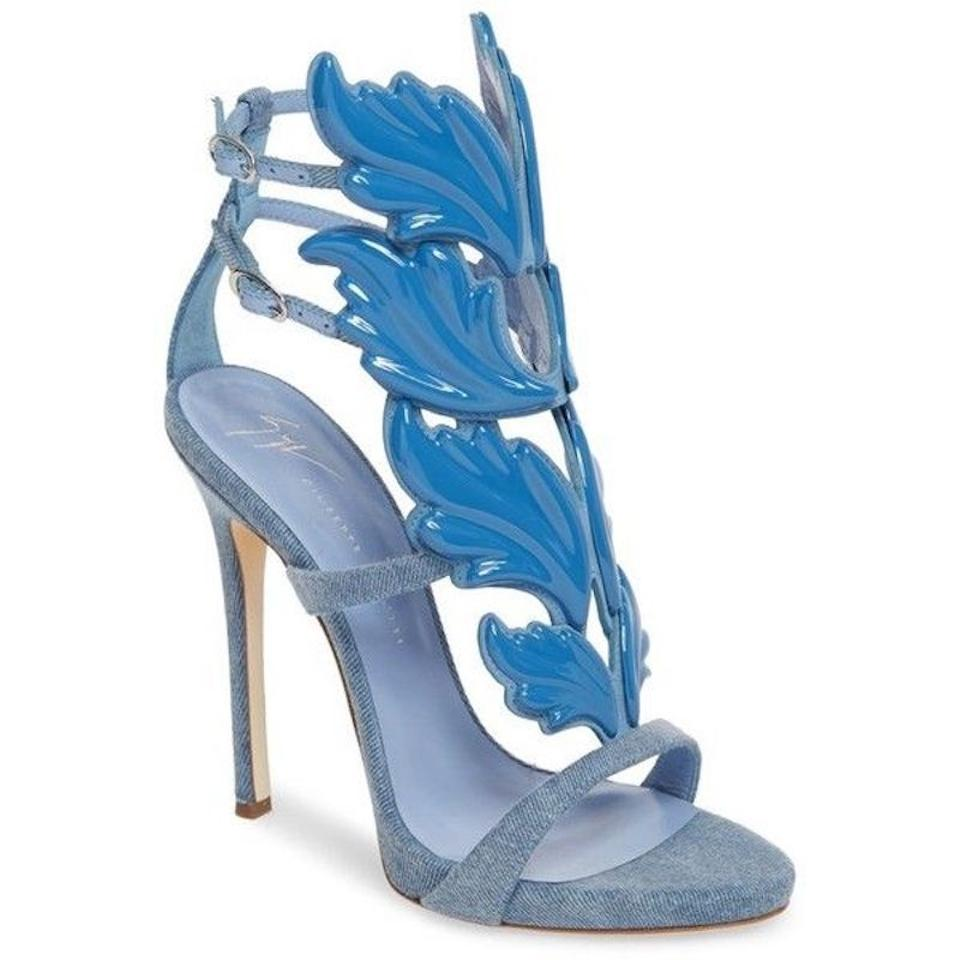 buying cheap save up to 80% temperament shoes Giuseppe Zanotti Blue Cruel Summer 110 Denim Leather Wing Ankle ...