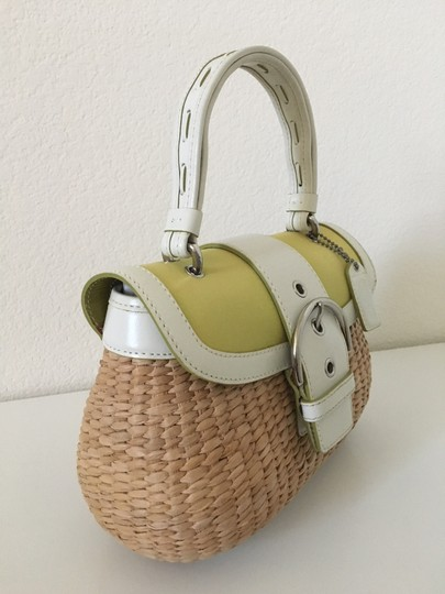 Coach Vintage Leather Straw Classic Satchel in White and Green