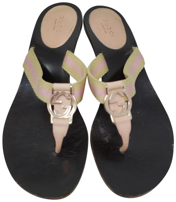 Item - Brown Gold Pink Beige Pale Leather Gg Logo Sandals Size EU 36.5 (Approx. US 6.5) Wide (C, D)