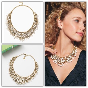 Stella & Dot Eve Pearl Bib Statement Necklace